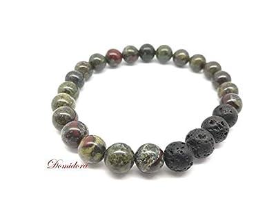 Bracelet Pierres Naturelles Oeil de Dragon et Pierre de Lave, Bracelet Extensible pour Homme, Bracelet Cadeau pour Lui
