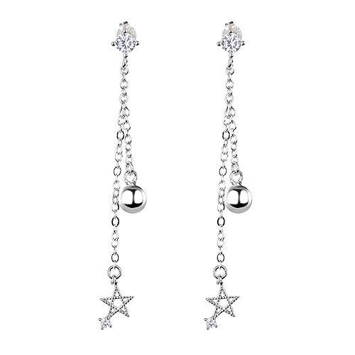 Ohrringe Sterne Perlen S925 Reinem Silber Ohr Draht Weiblichen Einfachen Zirkon Ohrringe