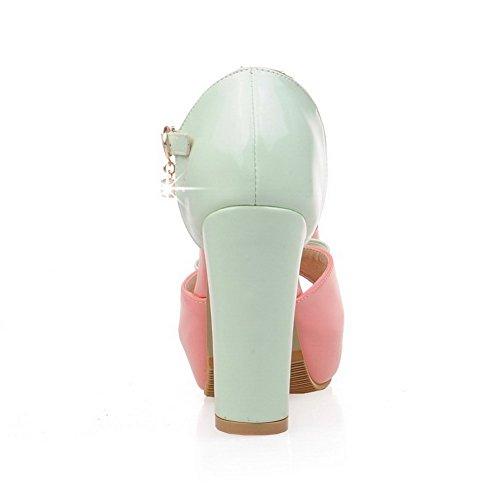 VogueZone009 Damen Gemischte Farbe Hoher Absatz Schnalle Sandalen Mit Hohem Absatz Pink