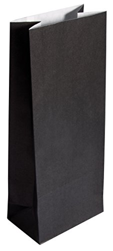 Rayher 67276576 Papier-Blockbodenbeutel, schwarz, 25 Stück, 10 x 24 x  6 cm, 80g/m2, Papiertüten, lebensmittelecht, Papiersterne basteln, Adventskalendertüten