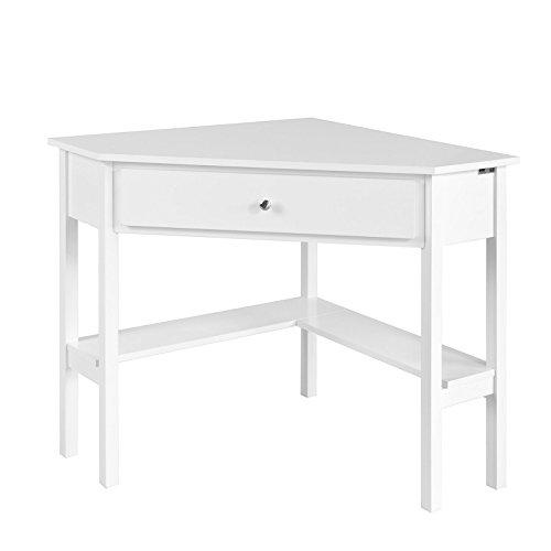 Sobuy consolle bianca ad angolo tavolo bianco con cassetto,triangolo fwt31-w
