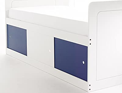 Scallywag Kids Captains Bed 3Ft Single in White with 3 Sliding Doors (2 x Blue/1 x White). Made In The UK.