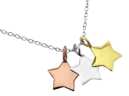 Laimons Damen-Halskette Stern drei farben mix tricolor mit Kette 45cm Sterling Silber 925