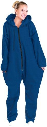PEARL basic Fleece Overall: Jumpsuit aus flauschigem Fleece, blau, Größe XL (Jumpsuit mit Reissverschluss)