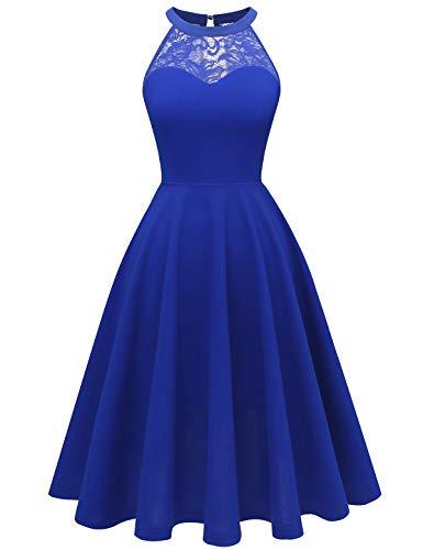 bbonlinedress Damen Cocktailkleid Abendkleider Rockabilly Retro Vintage Neckholder Royalblue XL -
