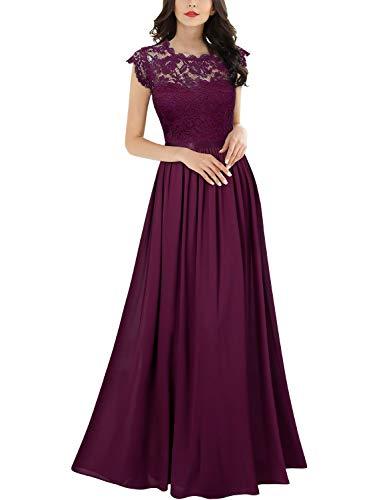 Miusol Damen Elegant Ärmellos Rundhals Vintage Spitzenkleid Hochzeit Chiffon Faltenrock Langes Kleid Magenta Gr.2XL