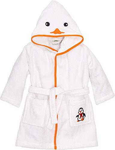 Smithy Kinderbademantel Pinguin für Jungen und Mädchen, Farbe weiß, Gr. 110/116