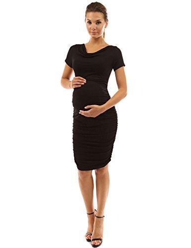 PattyBoutik Mama Damen Umstandskleid mit kurzen Ärmeln und Rollkragen (schwarz M 40) (Mutterschaft Schwarzen Rollkragen)
