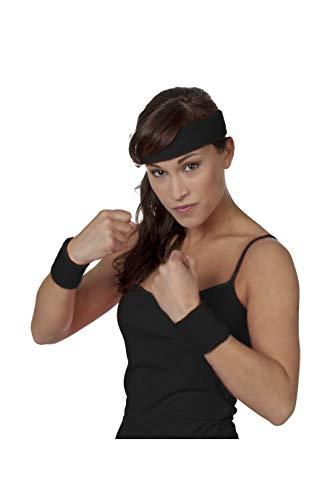 Jannes 51070 Schweißband-Set aus Strick 3-Teilig Stirnband Armband Armreif Disco Neon Fitness Einheitsgröße Schwarz