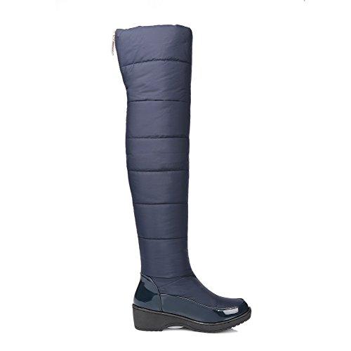 VogueZone009 Damen Rein Blend-Materialien Rund Zehe Reißverschluss Stiefel, Cremefarben, 42