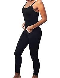 Donna Jumpsuit per Yoga Tuta da Ginnastica Casuale Sportivi Bodysuit Sexy  Apri Indietro Senza Maniche Fionda e8112350f175