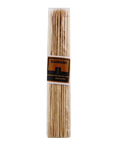 Somani bamboo BBQ sticks/kebab sticks/ wooden skewers/fruit/roasting pick 12 inches (Pack of 200)  available at amazon for Rs.199