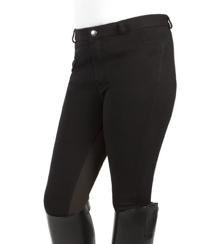 PFIFF Kinder Reithose Vollbesatzhose, Schwarz (Black/Brown), 152