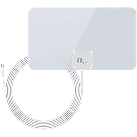 1byone Ultra delgado antena interior DVB-T [blanco brillante] - 40 kilometros gama de recepción, 4 metros de cable de alto rendimiento