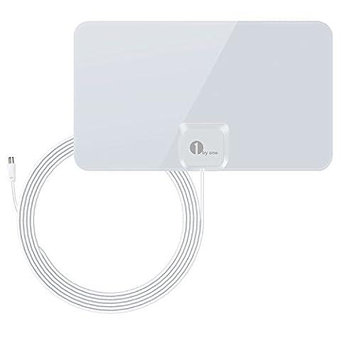 1Byone DVB-T/T2DVB Antenne intérieure pour Téléviseur compatibles, papier Fine (0,7mm) pour antenne vhf/uhf/FM, Très Fin pour Meilleurs réception, antenne avec câble 4m HIGH PERFORMANCE–Blanc brillant
