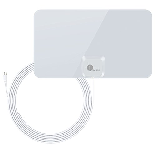 1byone Ultra Thin DVB-T Indoor Antenna, Freeview, HDTV, 40 Miles Reception Range, 4 High Performance Cable-Bright White Meters