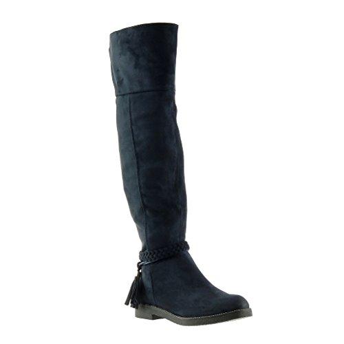 Angkorly - damen Schuhe Stiefel - Reitstiefel - Kavalier - Biker - String Tanga - Geflochten - Fransen Blockabsatz 3 CM - Blau TH13-3 T 37 (Für Blaue Fransen-boots Frauen)