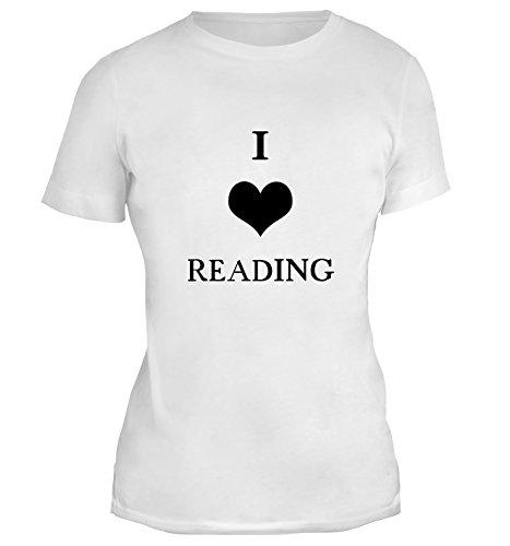 Mesdames T-Shirt avec I Love Reading Illustration imprimé. Blanc