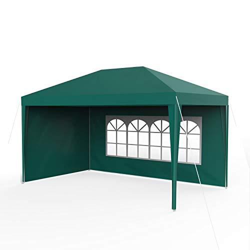 Sekey 3x 4m gazebo da giardino impermeabile/tenda da giardino gazebo da giardino/regolabile/gambe, per giardino/festa/matrimonio/picnic, uv30+, pareti laterali, verde