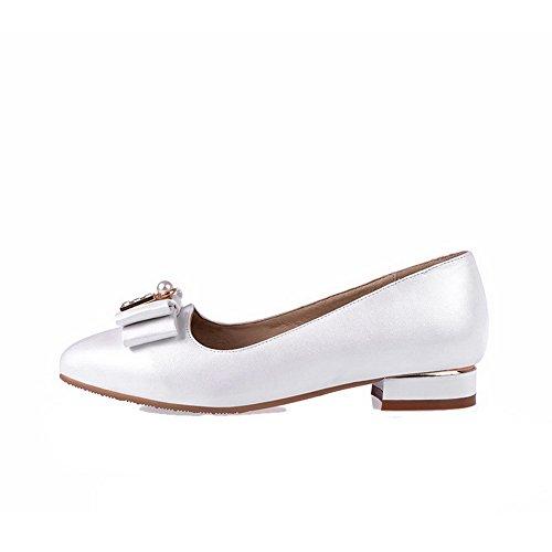 AllhqFashion Damen Niedriger Absatz Weiches Material Rein Ziehen Auf Spitz Zehe Pumps Schuhe Weiß