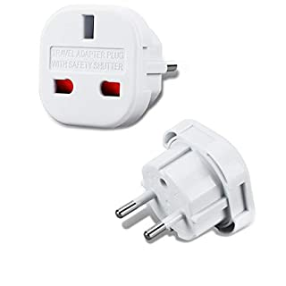 Incutex 1x UK zu EU Adapter Reiseadapter UK auf DE Reisestecker UK auf DE Netzadapter UK 3-Pin auf Euro 2-Pin Typ E, weiß