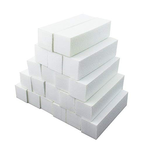 Soleebee Bloc Block a Lime à Ongles et Polissoir Corindon matériel d'épandage Bloc nail art Manucure 4 Faces (20 Pièces Blanc)