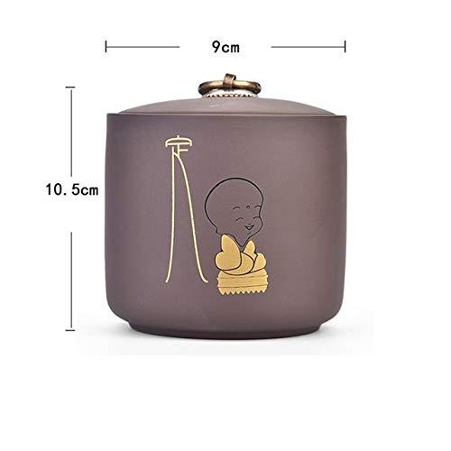 niuniuniu Lila Ton Keramik Teekanne Küche Vorratsglas Zuckerdose Kleine Mönch Muster Vorratsbehälter Dekoration Kunst Ding Butterfly Ginger Jar