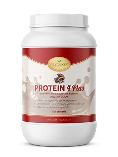 PROTEIN 4 PLUS Schoko - MADE IN GERMANY - 1000g Schokolade * Laktosefrei * Aspartamfrei * Glutenfrei! 3 Komponenten Eiweiß: Whey - Soja - Ei - Fettverbrennung/Diät & Muskelaufbau inkl. BCAA - Fatburner Schoko - VITACONCEPT