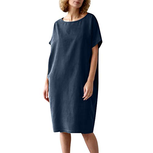 FeiXing158 2019 Sommer Herbst Damenmode o Neck lose Feste Kurzarm Casual Baumwolle und Kleid Satin Wrap Front Dress