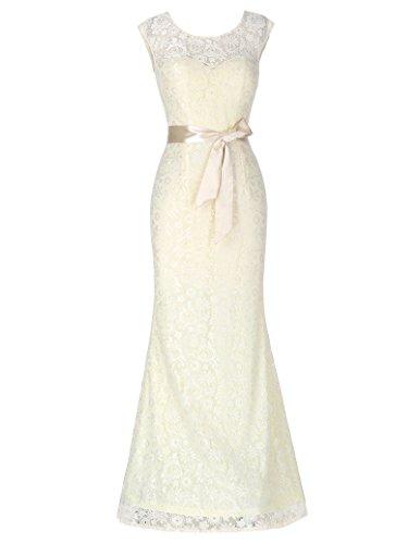 Damen Braut kleid Maxi Sommerkleid lang 46 KK203-3