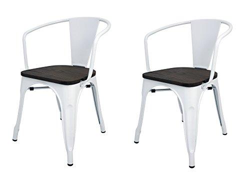 La Silla Española Die spanische Stuhl tólix Pack Stühle mit Rückenlehne, Edelstahl, Weiß, 53.50X 52X 73cm, 2Stück -