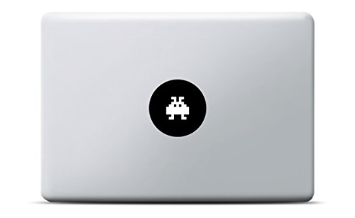 Space Invaders MacBook Sticker, MacBook Pro, MacBook Air, Vinyl Aufkleber schwarz, Laptop decal, Leuchteffekt