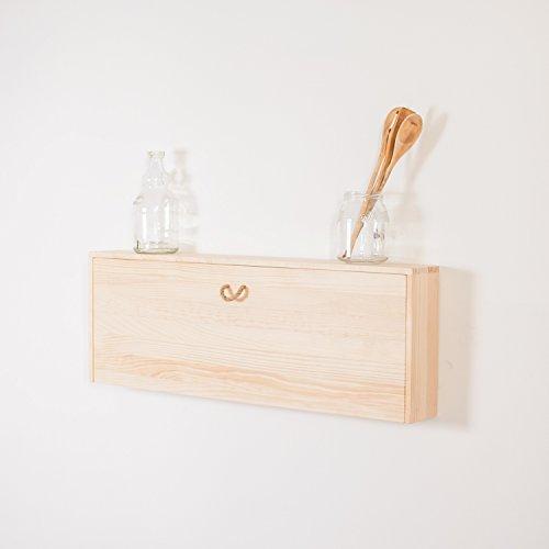 Estante madera flotante cajón especiero cocina. Alacena