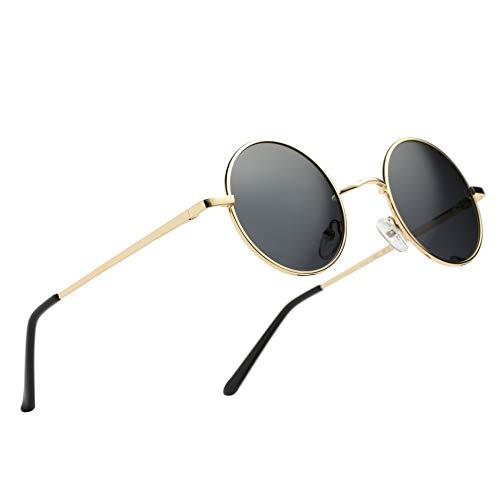 Hat Panda Polarisierte Runde Retro Vintage Sonnenbrille für Männer Frauen (47mm Gold-Schwarz)