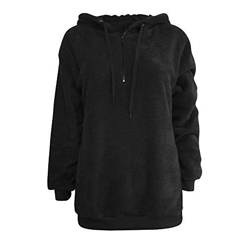 Lazzboy Womens Sweatshirt Hoodie Long Sleeve Warm-up Faux Fur Zipper Pocket Fleece Hooded Oversized Plus Size,S-5XL