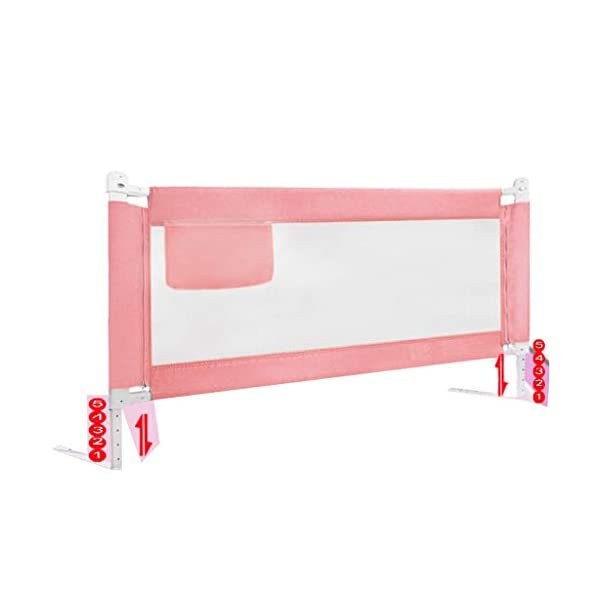 Playpens Crib Guardrail Baby Shatter-resistant Fence Large Bed 1.2-2.2 Meters Children Against Bedside Baffle (color : A, Size : 1.5m) Playpens ★ high quality non-toxic materials,Size:120cm/150cm/180cm/200cm/220cm ★ Vertical lift structure: no space is occupied, and it is more convenient to enter and exit. Push the fence down at the push of a button ★ height adjustment: can be adjusted according to the thickness of the mattress, so that the bed is close to the mattress. Avoid gaps between the mattress and the guardrail to prevent your child from falling 1