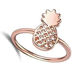 Anillo de piña de color dorado, plateado, oro rosa, piña, anillo, anillo de frutas