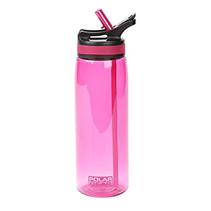 POLAR GEAR Aqua Grip, BPA-Free Reusable Drinking Water Bottle & Foldable Straw, Sturdy, Leakproof and Dishwasher Safe, Sports Eco-friendly Tritan Plastic Bottle with Loop Attachment, Black 650ml 2