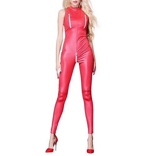 XWZG Jumpsuit Latex Wetlook Catsuit Bodys Zipper Open Crotch Dessous Nachtkleid Party Clubwear Bodysuit