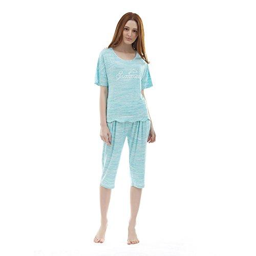 ladies fashion pigiama/ sette pantaloni tuta con maniche corte/Solido sottile casual abbigliamento casa B