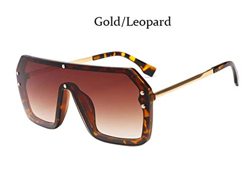 CNSP Brillen,Vintage Sonnenbrillen,Square Mirror Coating Sunglasses Men Women Fashion Shades Vintage pilot masculine glasses,Gold Leopaed