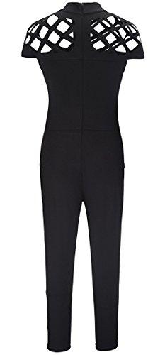 Lannorn Damen Zwei Stil Mode Overall Overalls Jumpsuit Kleid, Fischnetz Lang Hosen Rundhals Ausschnitt Frauen Bodycon Party Abendmode. Overall Schwarz