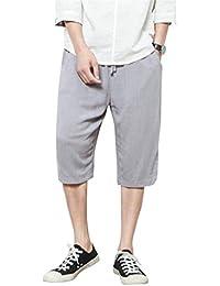 Targogo Capri Pantalones De Verano para Hombre Holgados Harem Aladin  Pantalones Elástica Cintura Basicas Casuales Colores 5b82e458bb3