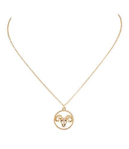Sternzeichen, Widder, Statement Kette, Anhänger, Symbol, Gold (758-937) ()