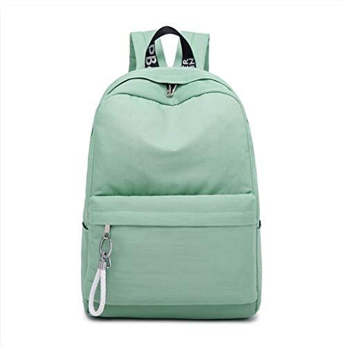 LIUWB Damenrucksack High School Studententasche Koreanische Version des College-Windrucksacks Casual Nylon Mädchen wasserdichte Umhängetasche (Color : Green, Size : 28 * 14 * 43cm)