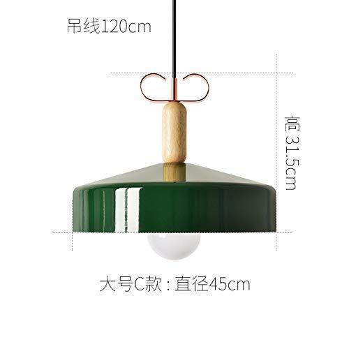 Ristorante in legno massello creativo lampada da tavolo da bar personalità lampada in alluminio a sezione C grande verde con luce monocromatica a led a luce calda da 9 watt