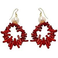 Anhänger Ohrringe aus Koralle in Rot ( 3mm Ø) Mallorca Perlen (12 mm Ø) | Handgefertigt Modeschmuck