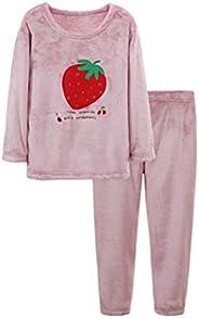 Otoño Invierno Coral Polar Niñas Pijamas Conjunto Niños Gruesa Ropa de Hogar Niños Niñas Pijamas Conjuntos Cal