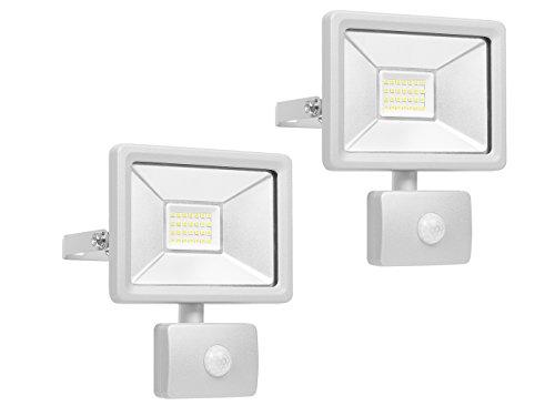 Lot de 2 Spot LED avec détecteur de mouvement et de raccordement Smart, 20 W, aluminium, IP44, Smartwares