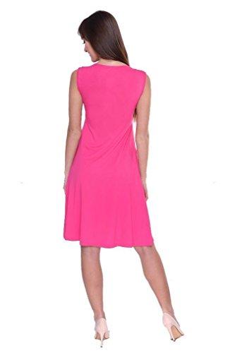 Kleid A-Linie Knielang mit Raffungen mit Taschen V-Ausschnitt + MAMA Umstandsmode, 8188 Pink